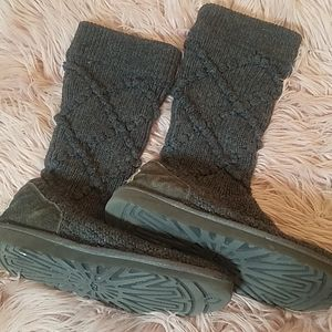 Gray Knit UGG Boots